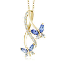 1.21 Ct Marquise Blue Tanzanite 18K Yellow Gold Plated Silver Butterfly Pendant