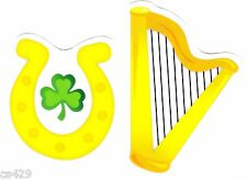 "3.5"" St patricks day horse shoe clover set holiday window cling decal cut out"