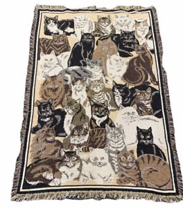 """Goodwin Weavers Cats RIPLE WOVEN AFGHAN Tapestry 48""""x67"""" USA Catlady"""