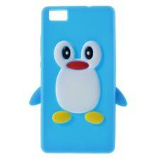 Soft Silikon Case Pinguin Cute 3D Flexibel Hülle Hellblau für Huawei P8 Lite