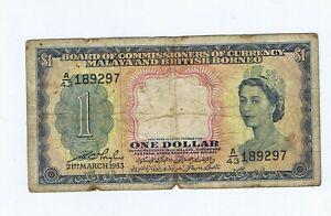 1953 Malaya One Dollar $1 bank note