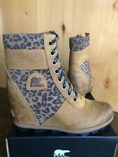 Sorel LEXI WEDGE BOOTS 9.5 Camel Brown Cheetah Waterproof NEW!! ankle rain boots