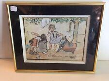 tableau avec aquarelle scene de rue avec enfants  vers année 50
