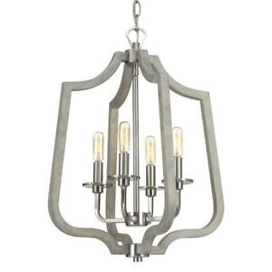 Progress Lighting Glenora Collection 4-Light Brushed Nickel Pendant