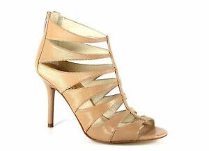Michael Kors Women's Mavis Open Toe Sandal Khaki Leather Cutout Back Zip Heel 9