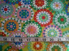 Retro Vintage 60's Style Green Cotton Fabric - Per Meter Craft, Quilting Dress
