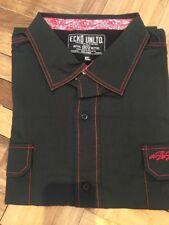 Ecko Unltd. Big & Tall Men's 4XL Black Short Sleeve Button Down Shirt Red Stitch