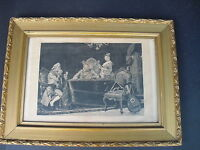 "Antique Victorian Wood & Gesso Gold Gilt Picture Frame 19""x26"" With Print"