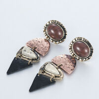 Retro Women Earring Alloy Natural Stone Pendant Dangle Ear Drop Earrings Jewelry
