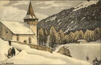 Art Deco Arts Crafts JUGEND Bergkirchen Swiss EE SCHLATTER Postcard c1915