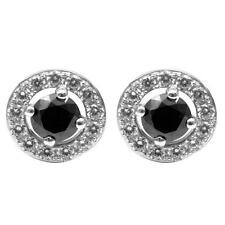 Diamond-Unique Black Diamond Halo Stud Earrings Solid Silver Platinum over