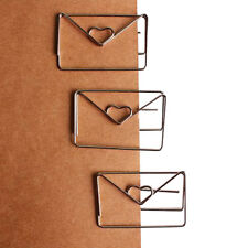 1pc 30mm*46mm metal silver color heart shape paper clip cute bookmark tag clipZP