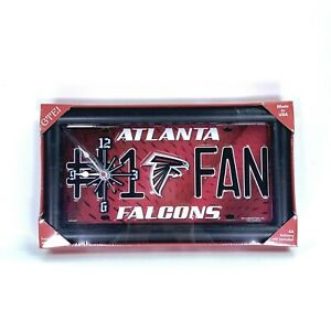 Atlanta #1 Fan Falcons NFL License Plate Framed Wall Stand Clock USA  - NEW