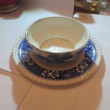 Bol a panade sur assiette au décor bleu «  Copeland Spodes Tower England » - tra