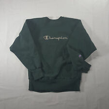 Champion Reverse Weave Green Silver SPELL OUT Sweatshirt LARGE Crewneck VTG 90s