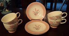 4 Homer Laughlin Cavalier PINK RADIANCE Wheat Cups w/ 3 Saucers C & E 56 N6
