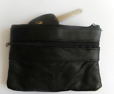Soft Leather Zipped Coin Purse Key Holder/ Key Ring Mens Womens