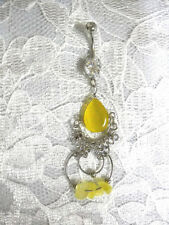 YELLOW CATS EYE STONE DROPLET BOLLYWOOD DANCE 14g CZ DANGLING BELLY RING BARBELL