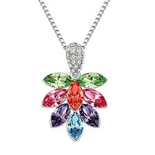 18K White Gold Plated Made With Swarovski Crystal Ice Flower Colorful Necklace
