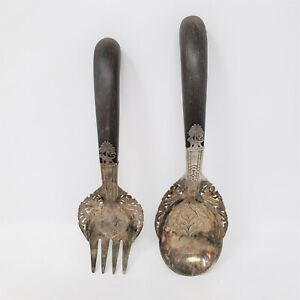 Mohd Salleh & Sons Malaysia Silver Serving Spoon & Fork w/ Lion Passant, Dragons