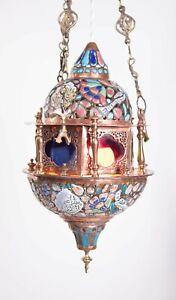 Antique Vintage Copper & Glass Rewired Moroccan Light Pendant