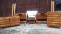 Vintage 1950's Sculptured Solid Pine Bedroom Set Dresser Credenza MCM