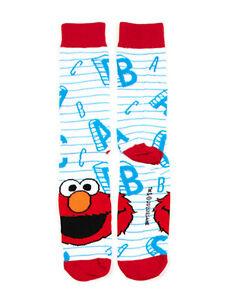 Sesame Street - Elmo and Letters - White Socks - Adult Crew OSFM Unisex