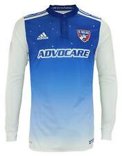 Adidas MLS Para hombre FC Dallas Auténtico Manga Larga Jersey, Azul