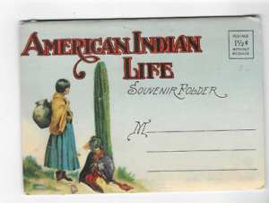 VINTAGE-POSTCARD FOLDER-AMERICAN INDIAN LIFE
