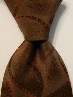 FENDI Men's 100% Silk Necktie ITALY Designer Geometric Brown/Red EUC