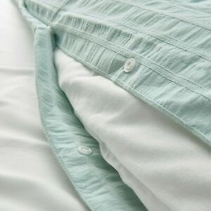 IKEA OFELIA Duvet Cover Set LIGHT TURQUOISE TWIN QUEEN KING DOBBY WOVEN NEW FRES