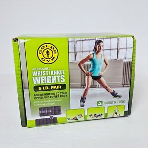 Golds Gym 5 LBS Pair Adjustable Ankle Weights Wrist Arm Leg Exercises