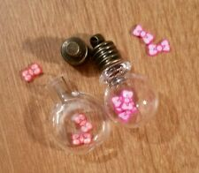20 TINY BOW~TIE Magical Fairy Dust Make A Globe Charm Pendant 5mm MIX COLORS