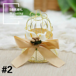 5x Hollow Candy Boxes Golden Metal Cage Design Pack Wedding Favors Case Bag Chic