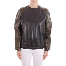 CÉLINE Ledershirt Gr. DE 38 FR 40 Grün Damen Oberteil Langarm Ledertop Leather