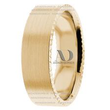 Solid 14K Yellow Gold Satin Finish Unisex Wedding Ring Flat Band