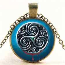 Vintage Celtic Metal Symbols Cabochon Glass Bronze Chain Pendant Necklace