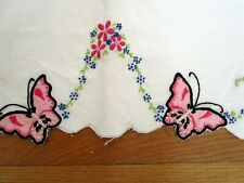 Vtg Antique Embroidered Pillowcases to Finish butterflies