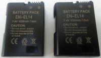 EN-EL14 (x2) Battery for Nikon D3100 D3200 D5100 P5200 P7000 P7100 P7700 P7800