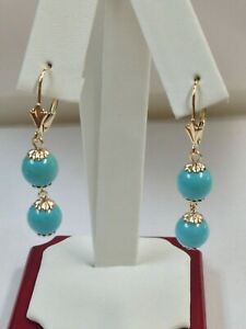 Turquoise Dangle Earrings Solid 14kt Yellow Gold