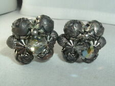Cluster Clip On Earrings Vintage Rose Ab Glass Bead