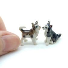 2 Siberian Husky Alaskan Malamute Dog Ceramic Figurine Animal Tiny - Cdg048