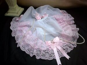 SISSY SHEER WHITE NYLON PANTIES KNICKERS PINK LACE FRILLS ACROSS BUM SATIN BOWS