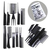 10 Piece Hair Styling Comb Set Professional Black Hairdressing Brush Barbers New