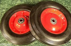 """2pc 10"""" inch SOLID RUBBER DOLLY WHEELS Tire Rim wheel Hard Heavy duty cart"""