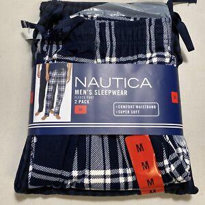 Nautica Mens Fleece Pajama Pant Lounge Plaid Blue 2-Pack Size Medium NEW