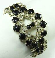 Vintage CLEAR & BLACK RHINESTONES Art Deco Style WIDE TENNIS BRACELET Stunning!