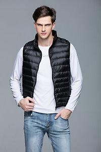 Women Men Duck Down Packable Zip Front Puffer Vest Sleeveless Jacket Coat Good