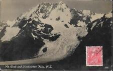 Mount Cook, New Zealand - & Hochteffer Falls - postcard, stamp 1933 to Java
