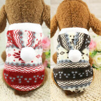 Pet Dog Hoodie Clothes Winter Puppy Warm Coats Xmas Snowflakes Sweater Costumes